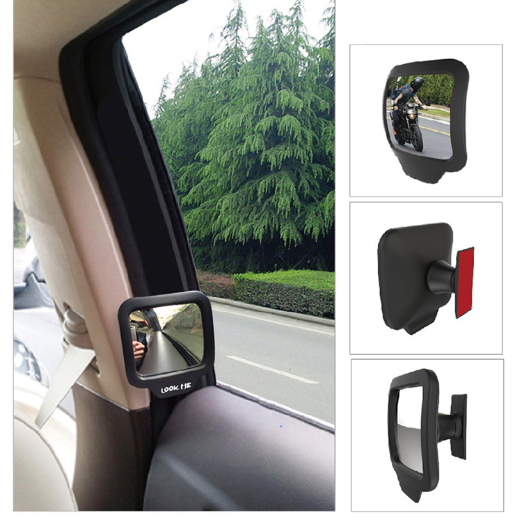 1pair Side Mirrors Black Protable Wide Angle Blind Spot